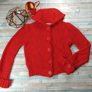 Zara Red Cropped Cardigan Sweater
